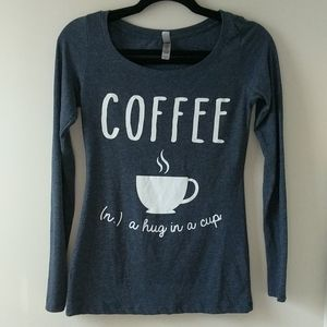 Coffee ...a hug in a cup Juniors small denim blue